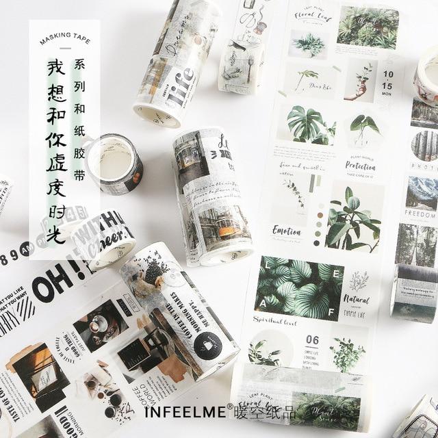 Tiempo libre serie Washi cinta adhesiva DIY álbum de recortes etiqueta adhesiva cinta adhesiva estudiante papelería regalo