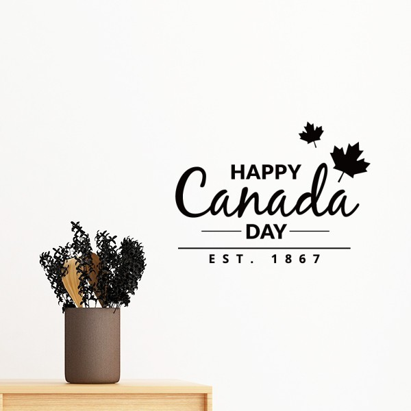 maple leaf happy canada day 4th of july slogan removable wall