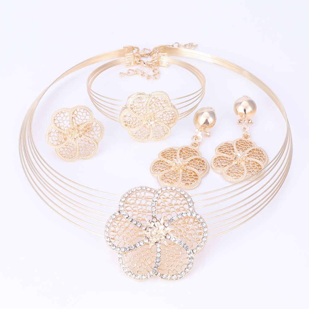 דובאי זהב-צבע תכשיטי סטי ניגרי חתונה אפריקאית חרוזים קריסטל שרשרת עגילי צמיד טבעת פרח תליון תכשיטי סט