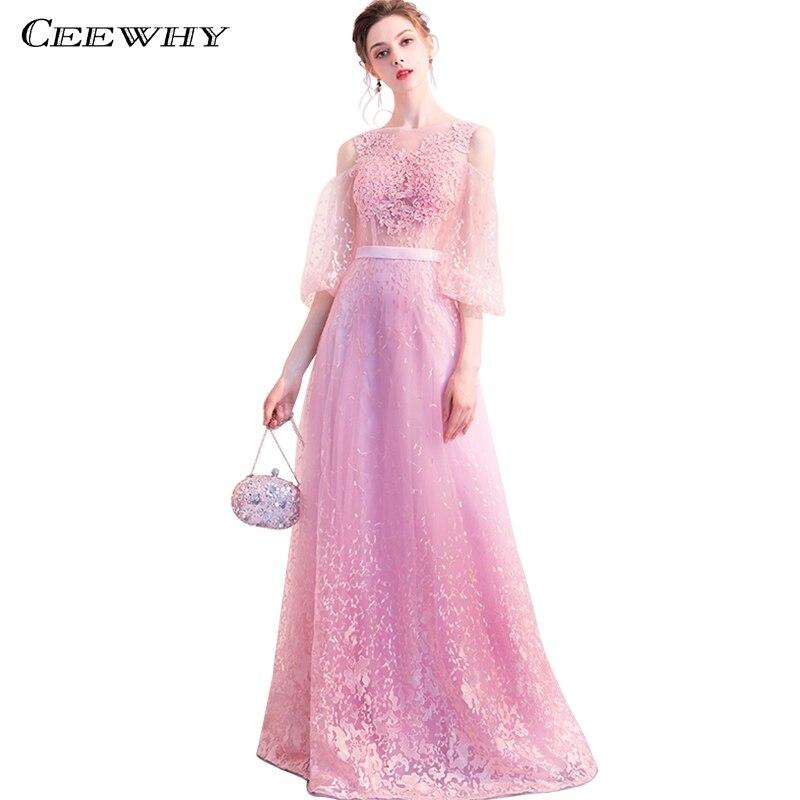 CEEWHY Appliques robe rose robes de soirée longue mère de la mariée robes pour soirée grande taille Vestido de Festa Longo