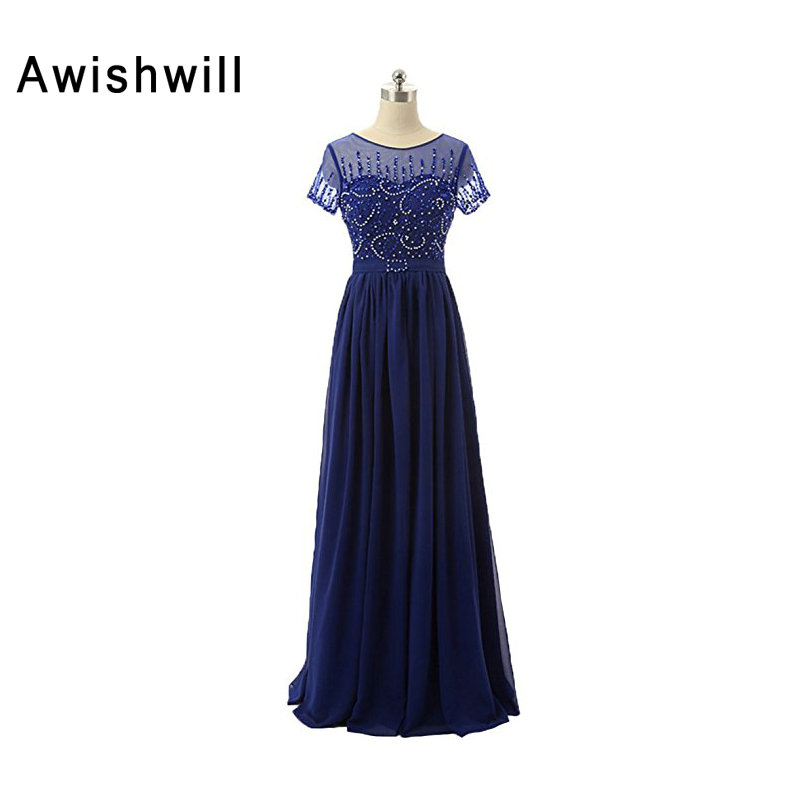 Elegant Mother of The Bride Dress With Short Sleeve For Party Beadings Chiffon Custom Made Women Formal Evening Gowns Dresses