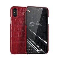 ل iphone x 10 التمساح نمط حالة عودة حالة كلاسيكية ل فون x أعلى حقيقي بقرة جلد غطاء الهاتف خمر قذيفة