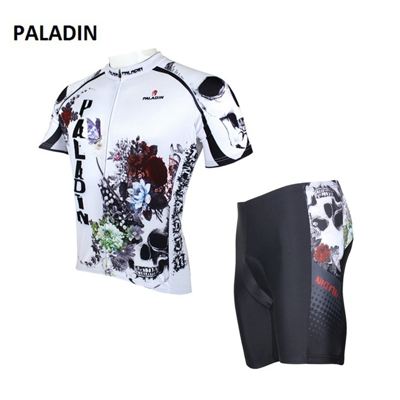 New Flowers Skulls Woman's Bicycle Jersey Shorts Suit Bike Bicycle Short Sleeve Clothing Set Sportswear Cycling Clothes nuckily ma008 mb008 men short sleeve bicycle cycling suit