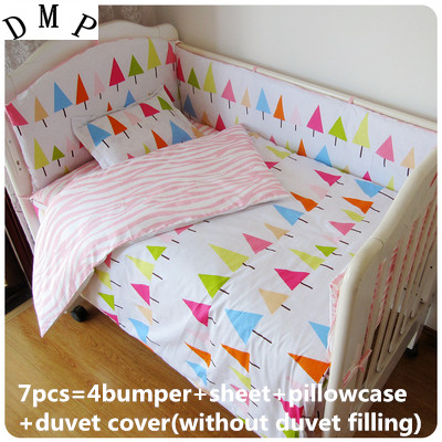 Promotion 6 7PCS Baby Cribs And Cots Bumpers Sheet For New Born Bed Baby Boy Bedding