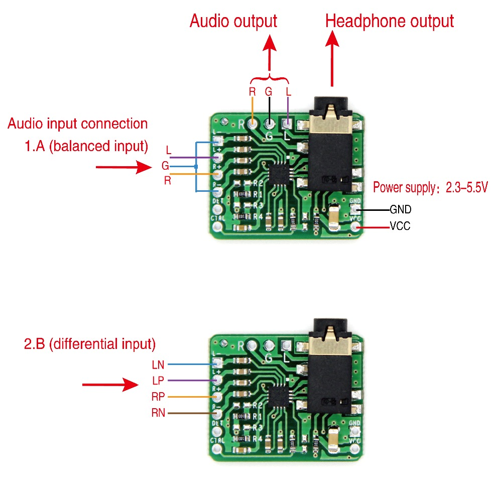 TPA6132 Differential-Balanced Stereo Headphone Amplifier Board HIFI AMP 2.3-5.5V