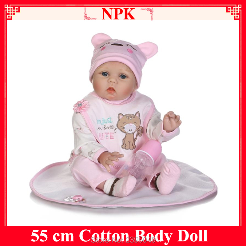 New 55cm Doll Baby Silicone Cotton Body Reborn Baby Doll Toys Newborn Girl Baby Doll Gift Birthday Gift Toy Girls Brinquedos 2017 new silicone reborn dolls for girls poupee reborn cotton body baby alive brinquedos baby doll toys lovely cartoon gift