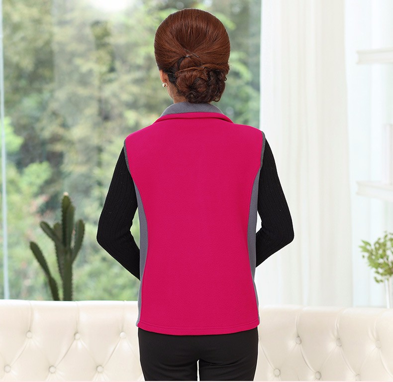 Woman Basic Fleece Vest Purple Red Color Blocking Sleeveless Jackets Middel Aged Women Warm Soft Fleeve Waistvest Zipper Herringbone Gilet (18)