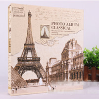 Gift Box Self Adhesive DIY Photo Album Big Size For 5/6/7/8/10 Inches Eiffel Tower Building Cover Retro Yearbook Welding Gift