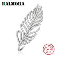 BALMORA 925 Sterling Silver Feather Zircon Rings for Women Statement Ring Party Gift Elegant Fashion Jewelry Anillos JWSR1418