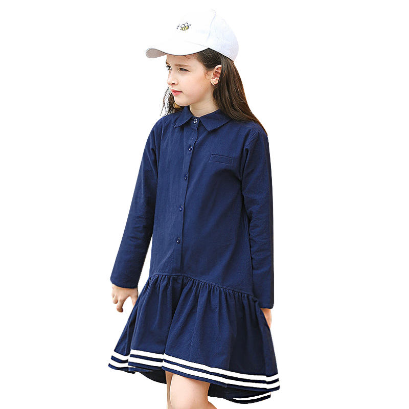 2018 New Spring Long Sleeve Cotton Loose Big Girls Clothes Teenage School Style Dress Navy Blue A Line Casual Dresses 6-16 Yrs hayden girls boho ethnic dress designs teenage girls national embroidered dresses flare sleeve loose fit dress for 7 to 14 years