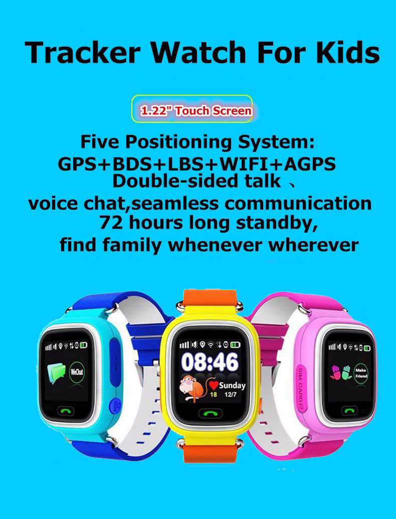 Original child Q90 Touch Screen WIFI Smart baby Watch Location Finder Device GPS Tracker child gps watch phone for Kids PK Q100