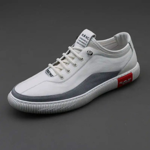 $ US $40.13 Luxury Brand Men Shoes Genuine Leather Casual Shoes Fashion Breathable Men Chunky Sneakers White Lace Up Flat Sport Board Shoes