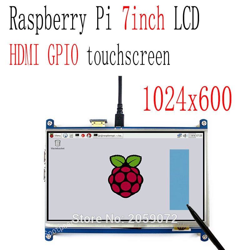 Raspberry pi 7 inch LCD resistive touchscreen HDMI 1024X600 7inch tft display gpio touch screen
