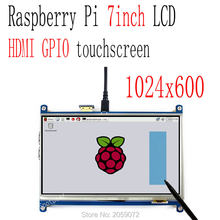 Raspberry pi 7 zoll LCD resistiven touchscreen HDMI 1024X600 7 zoll tft display gpio touchscreen(China)