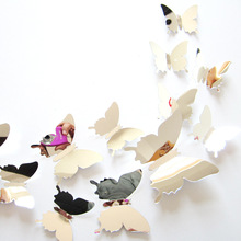 12pcs/set PVC 3D Butterfly Wall Stickers for Home Wedding Party DIY Mirror Decoration Decals Accessories Bedroom Living Room