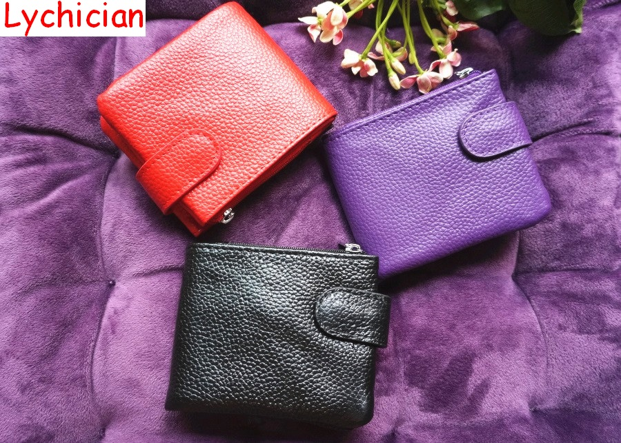 Buy Lychician brandNew arrival fashion wallet casual handy coin purse condom holder card holder split cowhide leather button closure