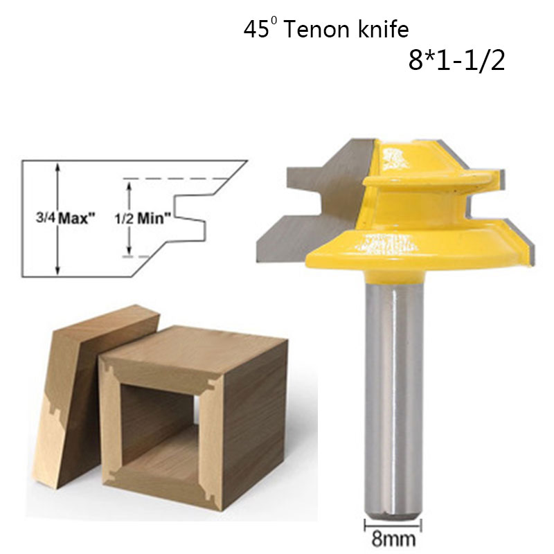 8mm Shank 45 Degree Tenon Milling Cutter Tool Lock Miter Router Bit Woodworking Drilling Bits For Wood Joint Assembly Tools