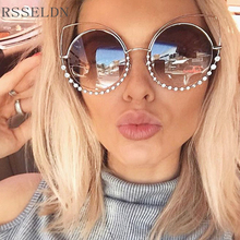 RSSELDN Fashion Cat Eye Sunglasses Women New Diamonds Colorful Round Glasses Women Brand Designer Lunette De Soleil Femme