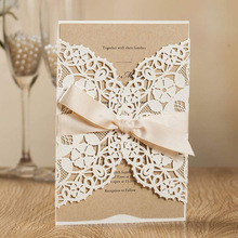 WISHMADE Laser Cut Wedding Invitations with White Navy Blue Floral Invites Cards for Party Supplies,Free customizable 100pcs/lot