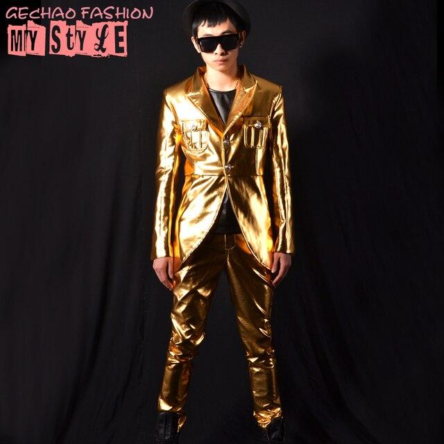 Мода кожа золото куртка брюки мужской костюм комплект танцор певец платье производительности шоу ночной клуб пиджак на открытом воздухе износа шоу