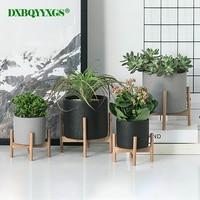 2019 Nordic desktop solid wood flower stand cement fleshy flower pot creative simple living room balcony assembly flowerpot