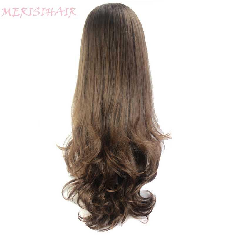 MERISI волосы длинные волнистые парик 8 цветов доступны красный синий коричневый фиолетовый черный парик для женщин полупарики синтетические волосы