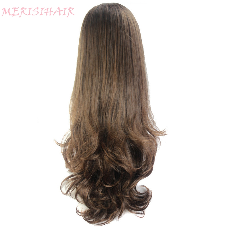 MERISI HAIR Long Wavy Wig 8Colors Available Red Blue Brown Purple Black Wig For Women Half Wigs Synthetic Hair