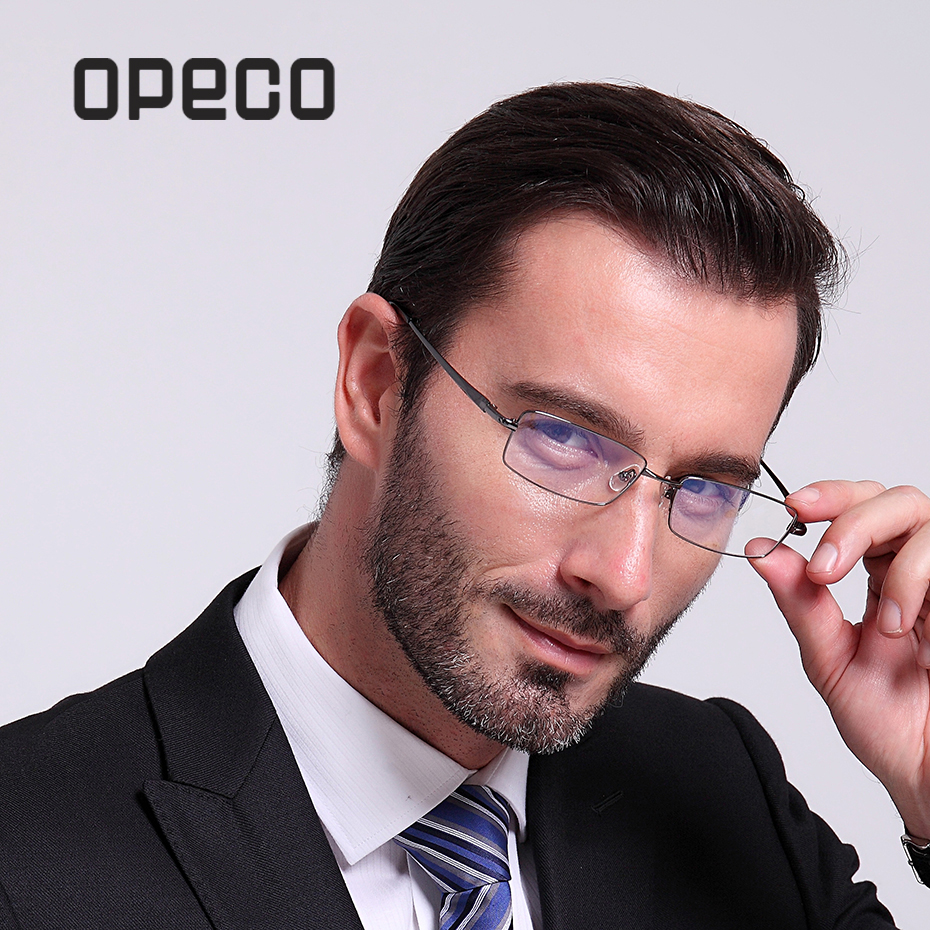 Opeco prescription eyewear frame men's pure titanium eyeglasses including RX lenses RX recipe male myopia spectacles 9867
