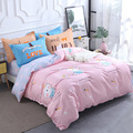 Классический комплект постельного белья  180 см  серый  синий  с цветами  4 шт./компл.