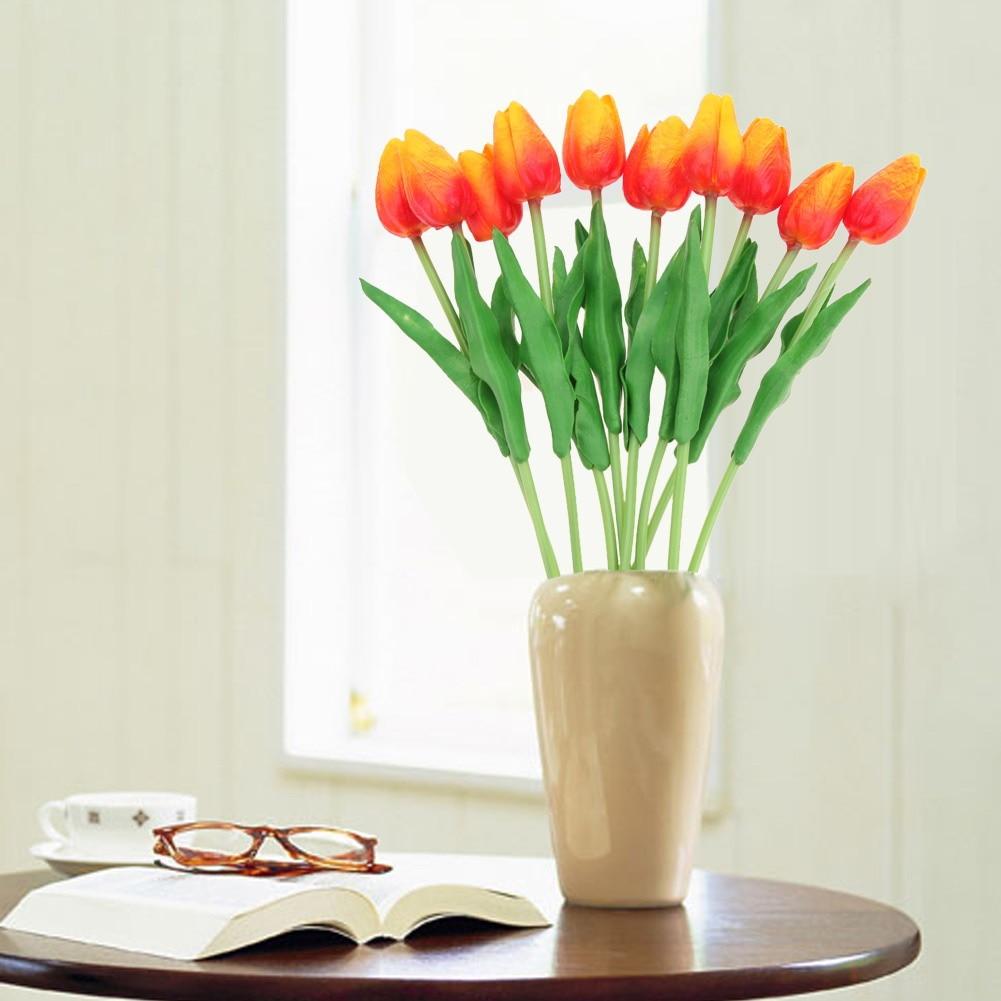 10pcs Artificial Tulip Flowers Wedding Decoration PU Leather Tulip ...