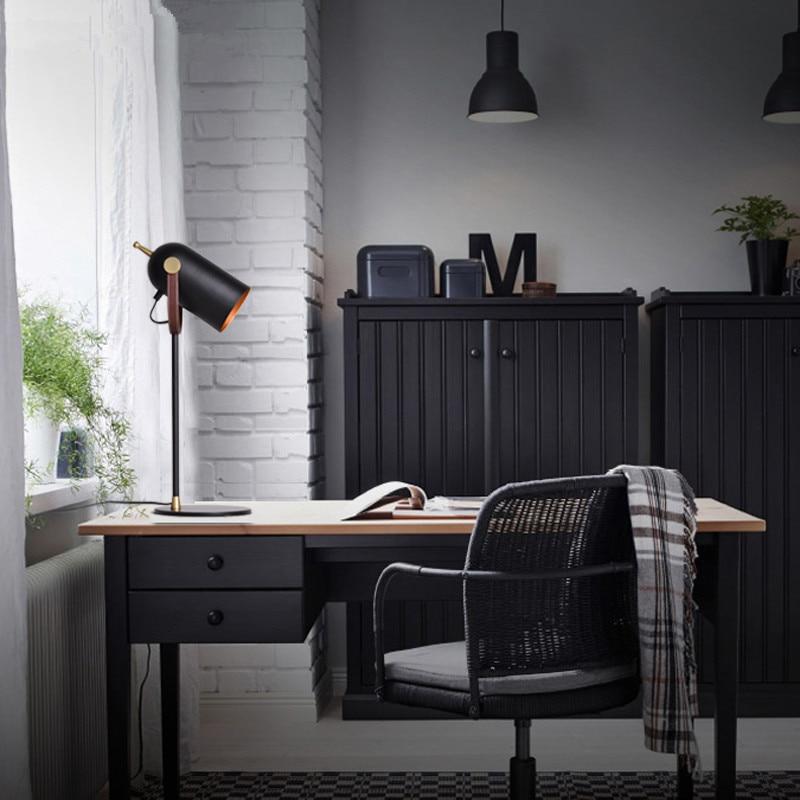 Креативная черная железная настольная лампа для спальни гостиной прикроватная тумбочка для ЕС/США/saa Разъем E27 led регулируемые черные хип хоп настольные лампы старинная настольная лампа - 6
