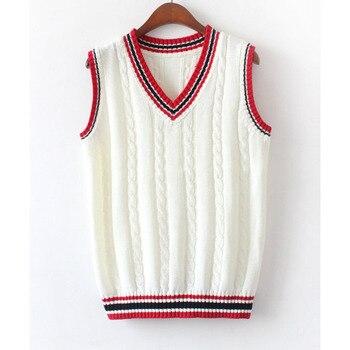 женский вязаный жилет с V образным вырезом осенние женские свитера