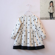 2016 New girl's Spring long sleeve heart dress female child clothing