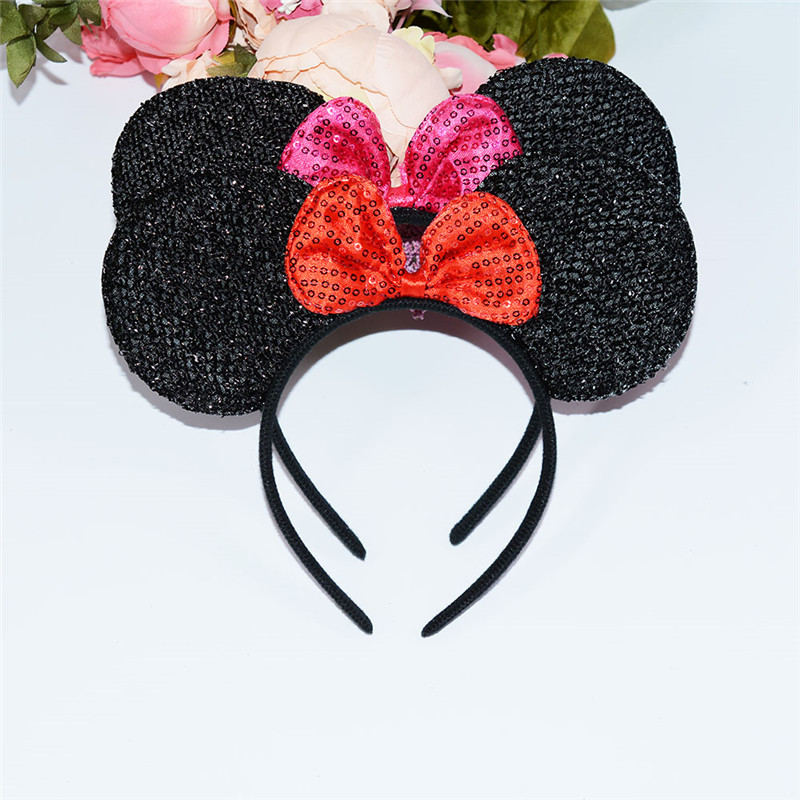 Minnie Mouse Headband Baby Girls Hair Accessories Polka Dots Ears Red Bow Birthday Party Favors Christmas Birthday Party Decor