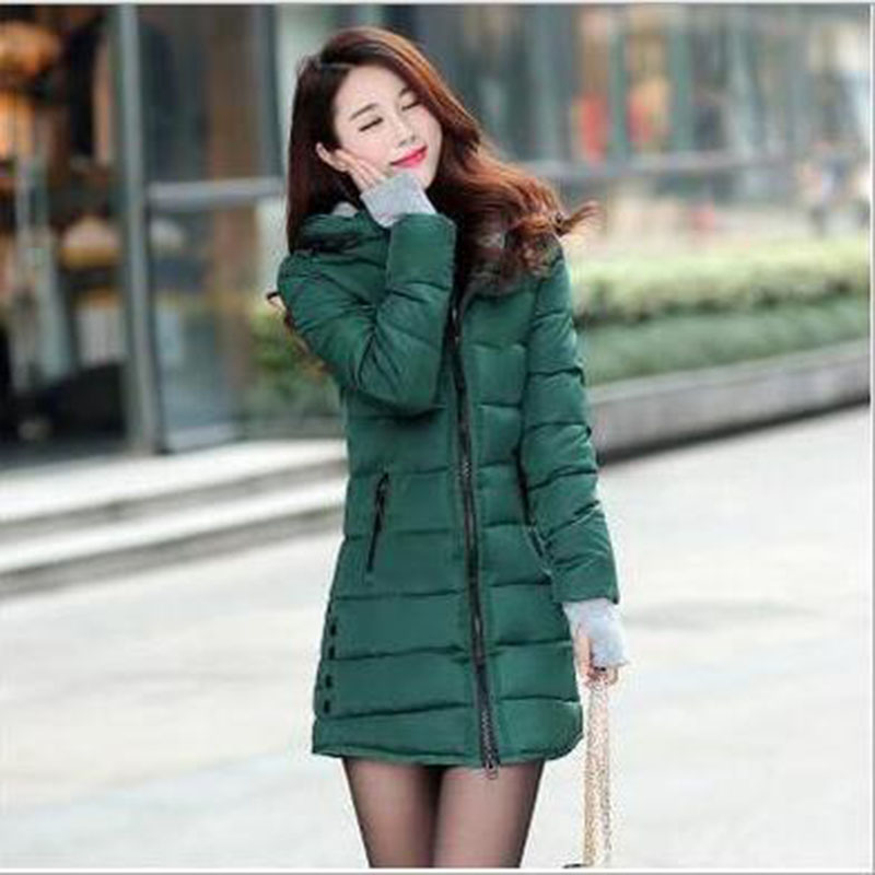 Winter Womens   Parkas   Plus Size 3XL Thick Long Cotton Jacket Coat Woman Hooded Warm Jacket Chaqueta Invierno Black Slim A458