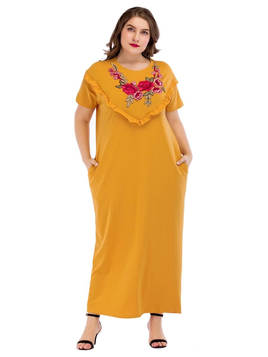 98d95d25e75 185215 большой двор Euramerica Для женщин мусульманские платья Ближний  Восток Свободные вышивка желтый Абаи нации Rmadan