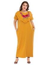 185215 Big Yard Euramerica Women Muslim Dresses Middle East Loose Embroidery Yellow Abaya Nation Rmadan Plus Size Vestidos Mujer
