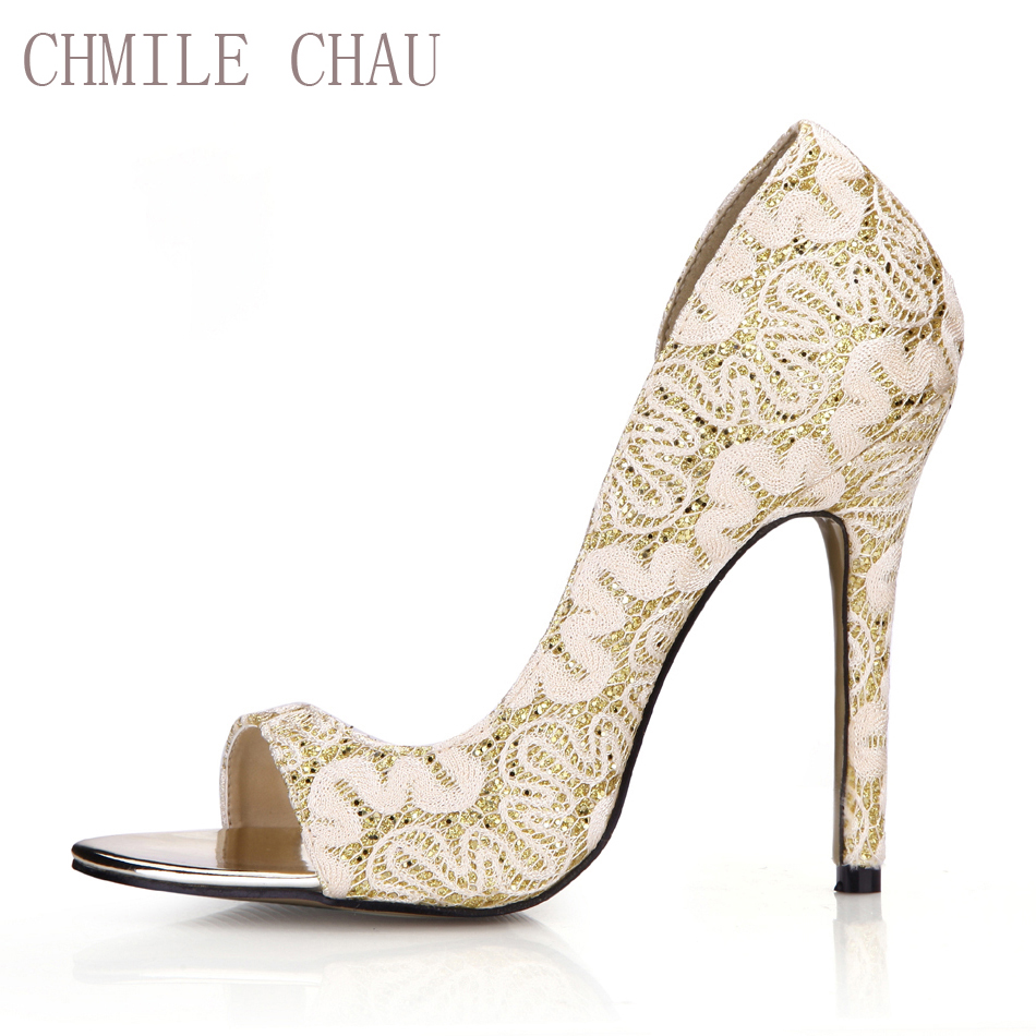 CHMILE CHAU Gold Sexy Bridal Party Ball Women 39 s Shoes Peep Toe Stiletto High Heel Pumps Plus Size 10 5 Zapatos Mujer 0640C Q3 in Women 39 s Pumps from Shoes
