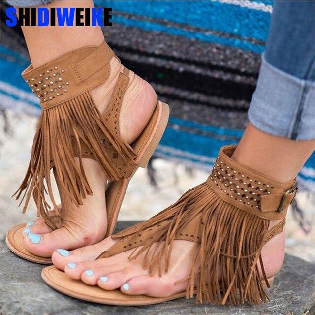 390ae30c3b2cd Women Sandals Fashion Tassel Summer Shoes Women 2019 New Flat Sandals  Female Flip Flops Plus Size 34-43 Casual Sandale Femme
