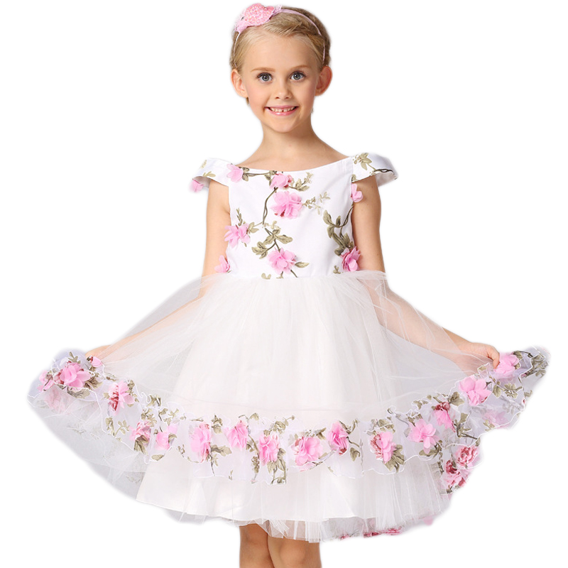 New Kids Girls Flat Shouders 3D Flower Dress Princess Party Wedding Girl Dress Tulle Summer Children Floral Formal Dress Costume стоимость