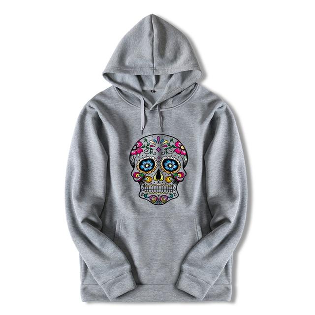 Harajuku Streetwear Hoody Sweatshirt Longsleeve White Skull Print Hooded Oversized Hoodies Boys Anime Black Coat for Men ZZW37 2