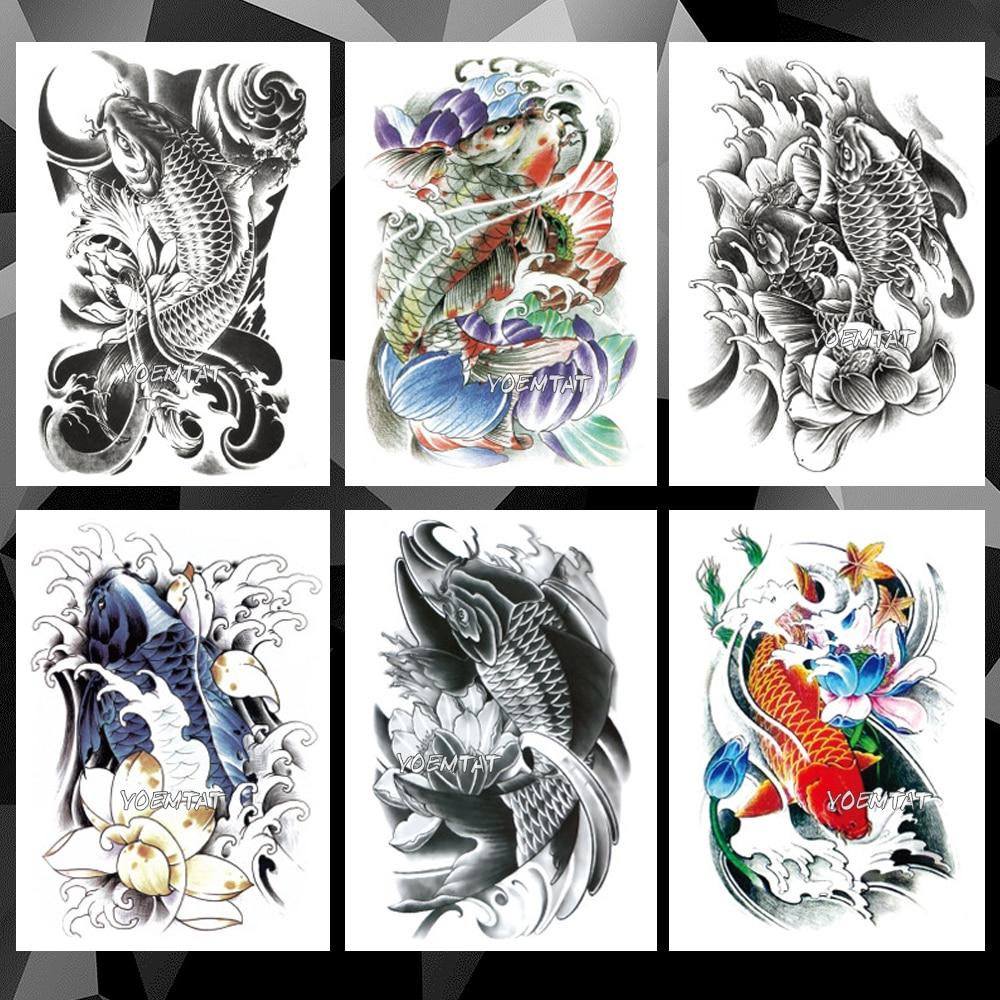 Japanese Traditional Carp Waterproof Temporary Tattoo Sticker Prajna Devil Flash Tattoos Body Art Arm Fake Tatoo