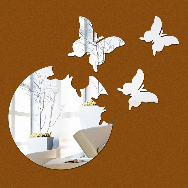 Acrylic mirror wall stickers Home decoration accessories 3D stereo butterfly decorative mirror clock silver free shipping