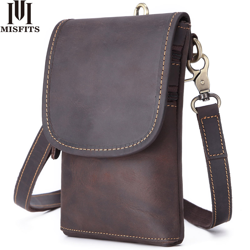 MISFITS 100% Genuine Leather Men's Shoulder Bag Waist Pack Fashion Small Crossbody Bags Cell Phone Pouch Man Belt Messenger Bags
