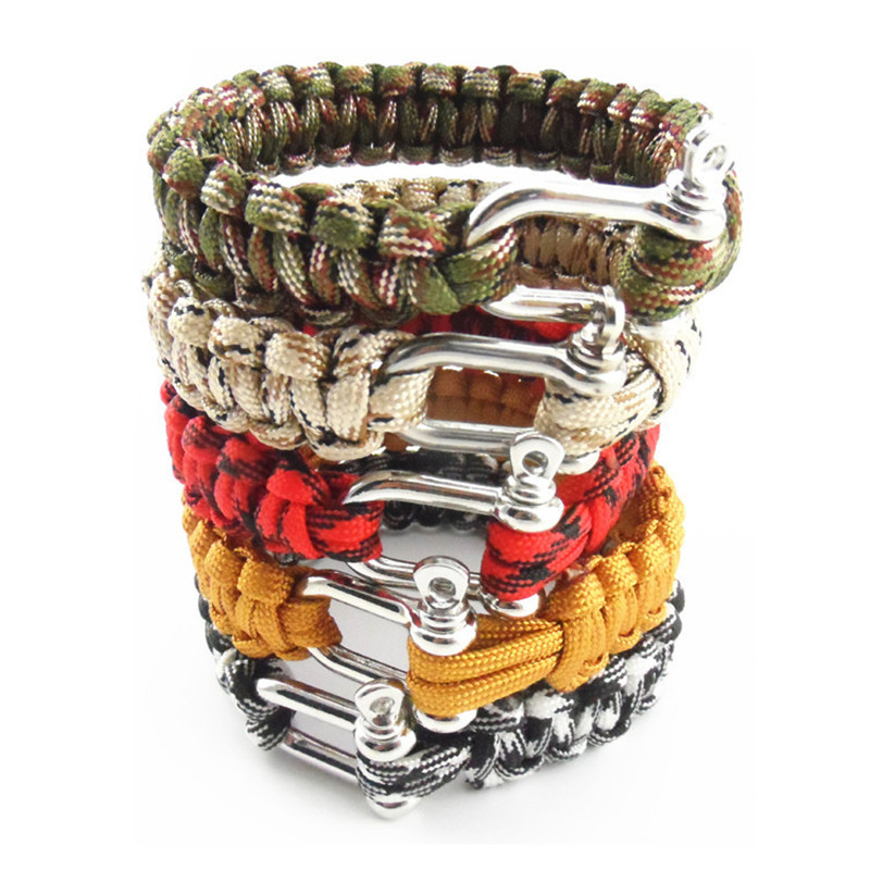 Nya 2016 Outdoor Survival Bracelet Men Självreddande Shackle Pin Woven ParaCord Rope Emergency Kit