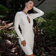 High Quality HL Black White Khaki Long Sleeve Keyhole Mini Bandage Dress Homecoming Party Bodycon Dress
