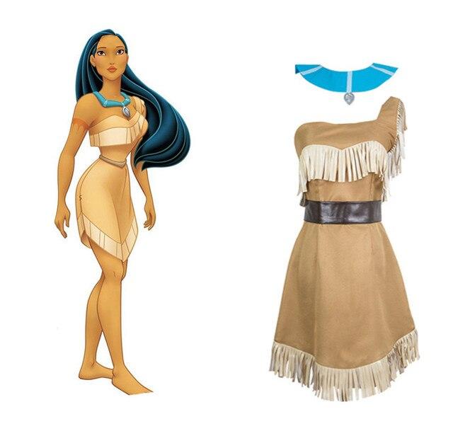 Mujeres de Halloween princesa india Pocahontas traje Matoaka ...