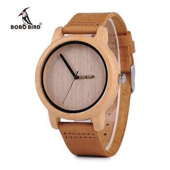BOBO WA22 Para Mujer De Bambú De Madera de AVES Relojes Del Cuarzo de Japón 2035 Cuarzo Reloj Puntero Láser Logo Personalizado Artículo Dropshipping