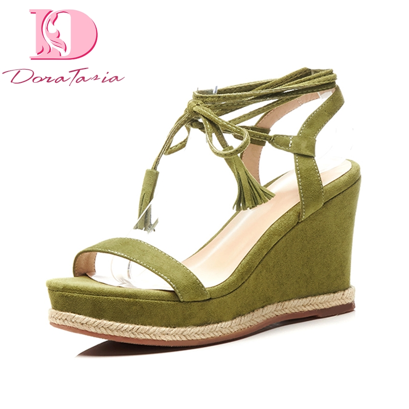 Doratasia Brand New Kid Suede Genuine Leather Cross Tied Women Shoes Solid Black Platform Party Summer