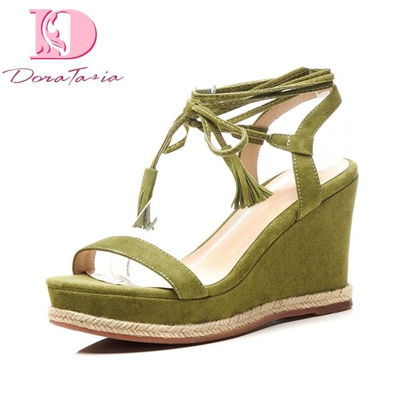Doratasia 브랜드 뉴 키드 스웨이드 정품 가죽 크로스 묶인 여성 신발 솔리드 블랙 플랫폼 파티 여름 샌들 여성-에서하이힐부터 신발 의  그룹 1